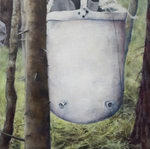 Magdalena Åberg - Sarjasta Välskärin(kertomattomat)kertomukset#19.amerikkalainen-vesisäiliö-akryylijaöljykankaalle-110x110cm